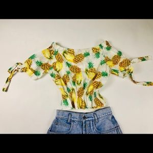 ADORABLE 90s PINEAPPLE MAMA CROP SCRUNCHY TOP XS
